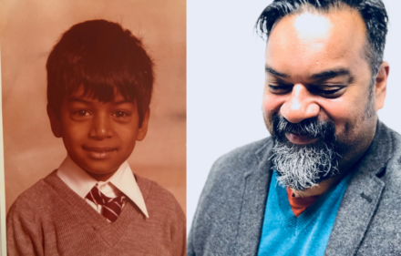 Two pictures of Atif, on the left as a child, on the right as an adult