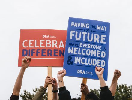 """Campaign banners: """"Celebrate difference"""" & """"Paving the way for a future where everyone is welcomed and included"""""""
