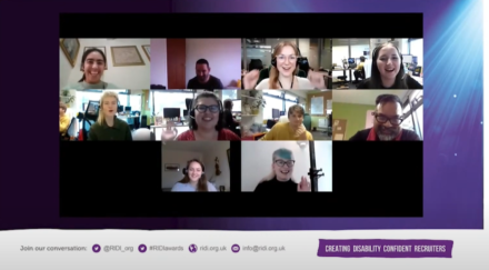 Screenshot of members of the D&A Team celebrating their win in a Zoom meeting, they are smiling and raising their arms in celebration.