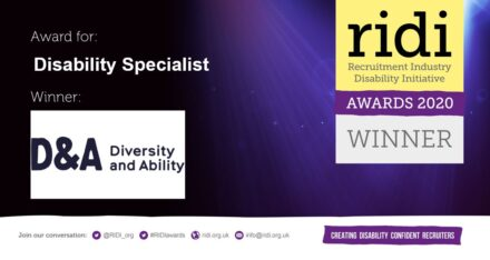 Award logo, which reads Award for Disability Specialist, Winner: D&A (Diversity and Ability) RIDI Awards 2020 Winner!
