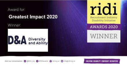 Award logo: Winner of Greatest Impact 2020, D&A (Diversity and Ability). RIDI Awards 2020 WINNER!