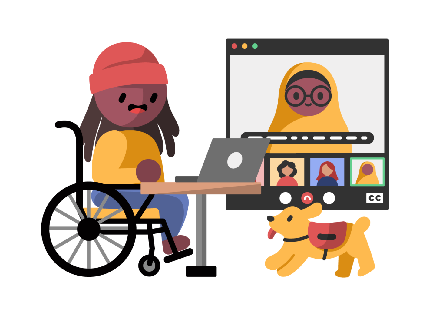 A dark skinned wheelchair user with long hair and a beanie sits at a small table, using their laptop to participate in a video meeting. The laptop screen is shown to their right, with the call being live captioned. The main speaker is a dark skinned person wearing a hijab and glasses, and 3 other participants are at the bottom of the screen, in smaller windows. In the bottom right corner, a yellow service dog bounds towards the wheelchair user.