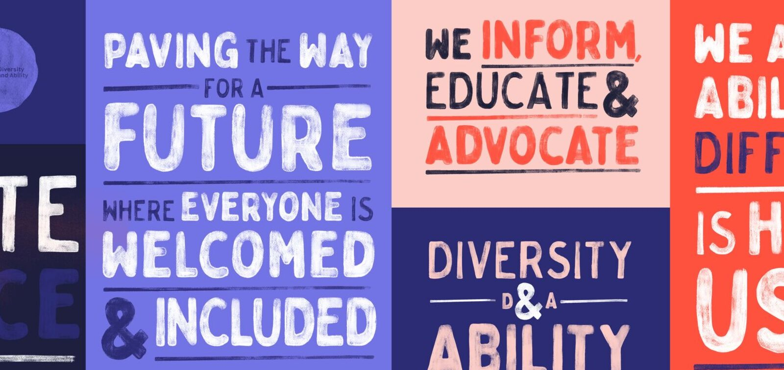 Diversity and Ability footer icons, showing d and a logo and slogan, 'we inform, educate and advocate'.